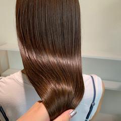 ロング ふんわり前髪 ヌーディーベージュ ラベンダーピンク ヘアスタイルや髪型の写真・画像