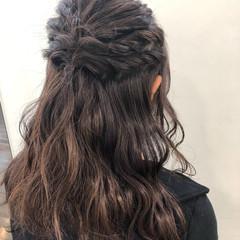 ハーフアップ ロング デート ガーリー ヘアスタイルや髪型の写真・画像