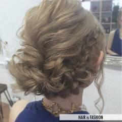編み込み ゆるふわ 結婚式 ヘアアレンジ ヘアスタイルや髪型の写真・画像
