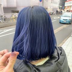 ターコイズブルー モード ブリーチカラー ボブ ヘアスタイルや髪型の写真・画像
