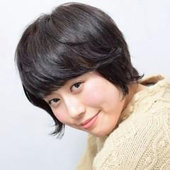 パーマ ショート アッシュ 前髪あり ヘアスタイルや髪型の写真・画像