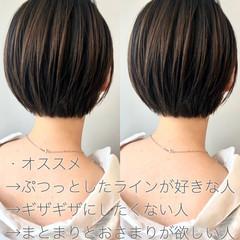 ミニボブ 切りっぱなしボブ ナチュラル ショート ヘアスタイルや髪型の写真・画像