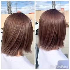 ナチュラル 外はね ミルクティーベージュ ミルクティーブラウン ヘアスタイルや髪型の写真・画像