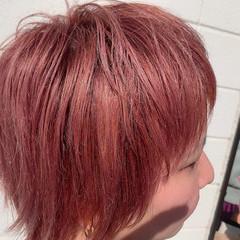 デザインカラー ピンク ハイトーンカラー モード ヘアスタイルや髪型の写真・画像