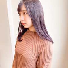 シースルーバング インナーカラー ラベンダーアッシュ ラベンダーピンク ヘアスタイルや髪型の写真・画像