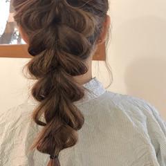 ガーリー ヘアアレンジ セミロング 結婚式 ヘアスタイルや髪型の写真・画像
