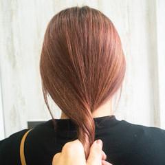 ハイトーンカラー ピンクブラウン ナチュラル オレンジブラウン ヘアスタイルや髪型の写真・画像