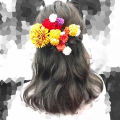 ナチュラル セミロング ヘアアレンジ ハーフアップ ヘアスタイルや髪型の写真・画像