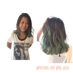 ミディアム グラデーションカラー ストリート ボブ ヘアスタイルや髪型の写真・画像