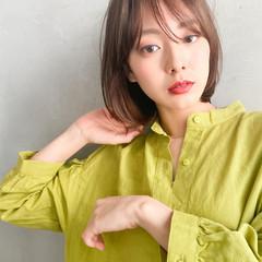 透明感カラー フェミニン ミニボブ 切りっぱなしボブ ヘアスタイルや髪型の写真・画像