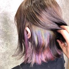 ボブ ガーリー インナーカラー ユニコーンカラー ヘアスタイルや髪型の写真・画像