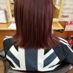 ブリーチ ピンク ロブ ストリート ヘアスタイルや髪型の写真・画像