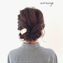 結婚式 波ウェーブ くるりんぱ ストリート ヘアスタイルや髪型の写真・画像