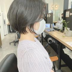 ショート ショートボブ 前髪なし かき上げ前髪 ヘアスタイルや髪型の写真・画像