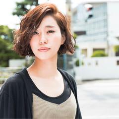 前髪あり かき上げ前髪 コンサバ ショートボブ ヘアスタイルや髪型の写真・画像