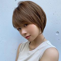 コンサバ シースルーバング 小顔ショート ショートボブ ヘアスタイルや髪型の写真・画像