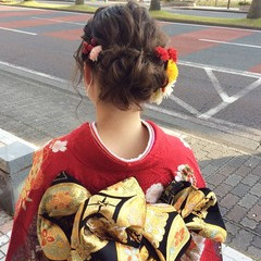 ナチュラル 成人式ヘア 成人式ヘアメイク着付け 成人式 ヘアスタイルや髪型の写真・画像