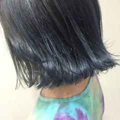 グラデーションカラー ネイビー ネイビーアッシュ グレー ヘアスタイルや髪型の写真・画像