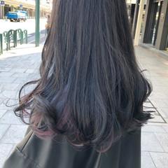 インナーブルー ブリーチ ロング ナチュラル ヘアスタイルや髪型の写真・画像