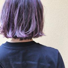 ピンクパープル ピンクラベンダー 外ハネボブ ボブ ヘアスタイルや髪型の写真・画像