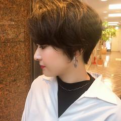 黒髪 ハンサムショート ナチュラル ショートヘア ヘアスタイルや髪型の写真・画像