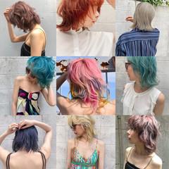 ミディアム 切りっぱなしボブ ハイトーンカラー インナーカラー ヘアスタイルや髪型の写真・画像