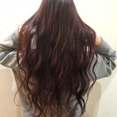 ロング ガーリー カール レッド ヘアスタイルや髪型の写真・画像