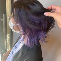 セミロング モード ダブルカラー ハイライト ヘアスタイルや髪型の写真・画像