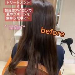 セミロング ストレート 髪質改善 超音波 ヘアスタイルや髪型の写真・画像