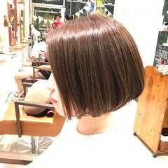 ショートボブ グレージュ コンサバ 秋 ヘアスタイルや髪型の写真・画像