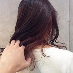 モード セミロング インナーカラー ヘアスタイルや髪型の写真・画像