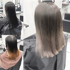 ブラウンベージュ グラデーションカラー ホワイトグラデーション アッシュブラウン ヘアスタイルや髪型の写真・画像
