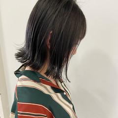 ミディアム 切りっぱなしボブ 暗髪 切りっぱなし ヘアスタイルや髪型の写真・画像