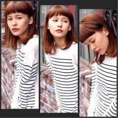 ミディアム ストリート オン眉 ダブルカラー ヘアスタイルや髪型の写真・画像
