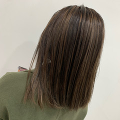 ブリーチ バレイヤージュ ミディアム 3Dハイライト ヘアスタイルや髪型の写真・画像