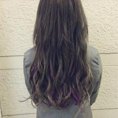 ロング グラデーションカラー エクステ ガーリー ヘアスタイルや髪型の写真・画像