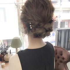 ゆるふわ セミロング 結婚式 ヘアアレンジ ヘアスタイルや髪型の写真・画像