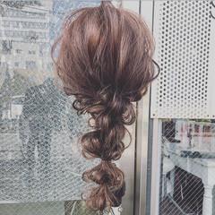 結婚式 エレガント 編みおろしヘア ロング ヘアスタイルや髪型の写真・画像