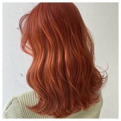 オレンジカラー 韓国ヘア オルチャン ガーリー ヘアスタイルや髪型の写真・画像