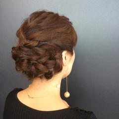 エレガント ミディアム 編み込み 結婚式 ヘアスタイルや髪型の写真・画像