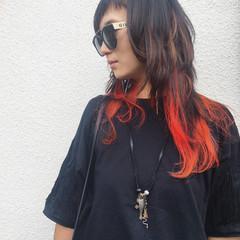 ダブルカラー ストリート ロング インナーカラー ヘアスタイルや髪型の写真・画像