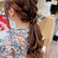 セミロング ヘアアレンジ 編み込み ガーリー ヘアスタイルや髪型の写真・画像