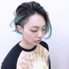 グリーン ハイトーン ストリート グラデーションカラー ヘアスタイルや髪型の写真・画像