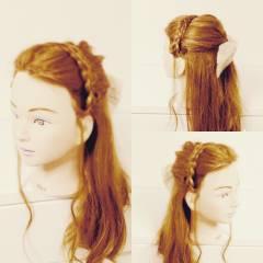 ショート ガーリー 簡単ヘアアレンジ ハーフアップ ヘアスタイルや髪型の写真・画像