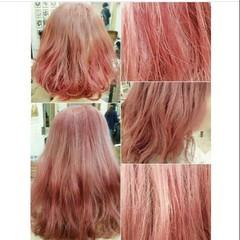 ヘアアレンジ ハイトーン レッド ガーリー ヘアスタイルや髪型の写真・画像