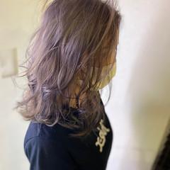ブリーチ フェミニン ミディアム 透明感カラー ヘアスタイルや髪型の写真・画像