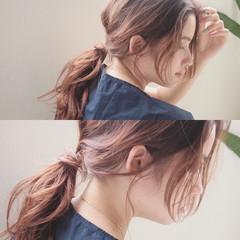 ショート 簡単ヘアアレンジ セミロング フレンチセピアアッシュ ヘアスタイルや髪型の写真・画像