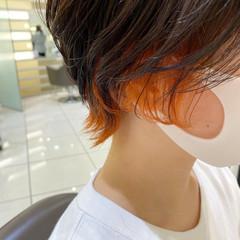 ハンサムショート ショートヘア ショート オレンジベージュ ヘアスタイルや髪型の写真・画像