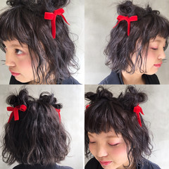おフェロ ガーリー ヘアアレンジ 暗髪 ヘアスタイルや髪型の写真・画像
