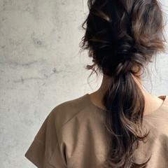 簡単ヘアアレンジ ナチュラル 編みおろしヘア セルフアレンジ ヘアスタイルや髪型の写真・画像